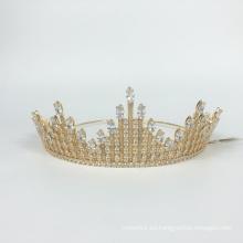 Venta caliente accesorios para el cabello de boda corona dorada tocado corona y corona de diamantes de imitación