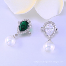 Fashion design AAA cz & pearl 925 silver rhodium plated brooch