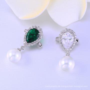 Modedesign AAA cz & perle 925 Silber rhodiniert Brosche