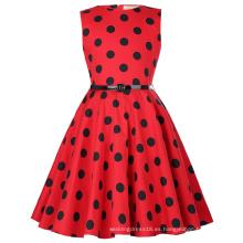 Kate Kasin Niños sin mangas Vintage retro algodón negro puntos de cosecha Vintage vestido de verano KK000250-15