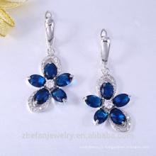Alibaba mode argent cz cristal pierres précieuses plaqué or boucles d'oreilles pour la mariée