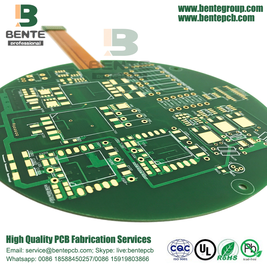 4 capas Rigid-Flex board ENIG Applications Industry Green