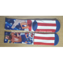 Men Sublimation Basketball Socks with Printing Design