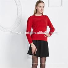 jacquard intarsia punto mujer cuello redondo jersey de lana de cachemira para mujer