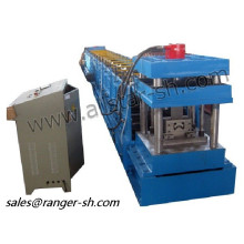 Forming machine for highway guardrail support