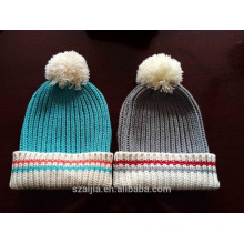 Ladies colorful stripe knitted beanie with fake fur pom