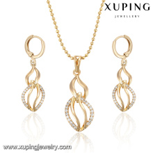 63981 Gold plated jeweleries zircon copper jewelry set