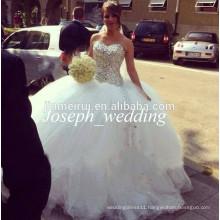 2014 New Arrival Luxurious Sweetheart Crystal Rhinestone Beaded Long Big Wedding Dress Women Bridal Gown Free Shipping JWD124