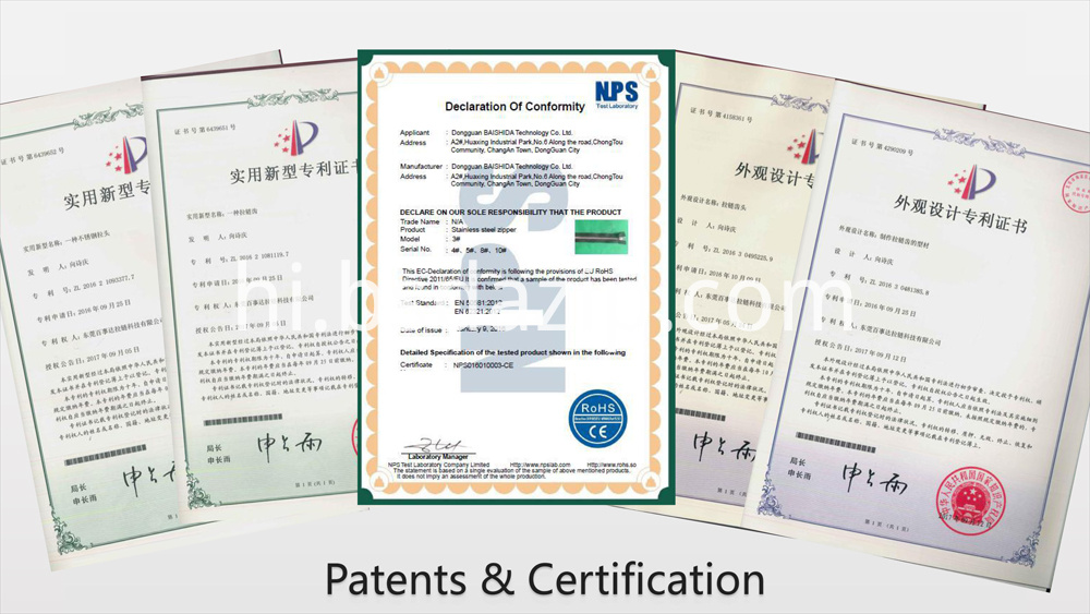 patents&certification for metal zipper