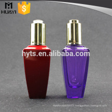 50ml wholesale colorful empty essential oil glass bottle with press dropper