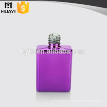 purple colored square empty cheap uv glass nail polish bottle