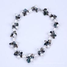 Новый стиль пресной воды Pearl и падение формы кристалла ожерелье