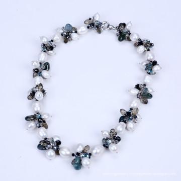 Новый стиль пресной воды жемчужина и падение формы кристалла ожерелье