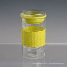Borosilicate Double Wall Glass with Silicone Sleeve