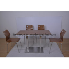 Food Court Market Ss Leg Cafe Table with Chairs (FOH-NCP15-8)