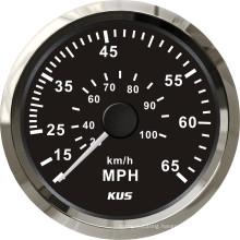 Speedometer Gauges 85mm Speedometer 0-65mph Balck Faceplate 316 Stainless Steel Bezel for The Boat Yacht Marine