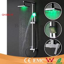 Latón macizo con desvío Grifo de ducha con lluvia LED autoamplificado
