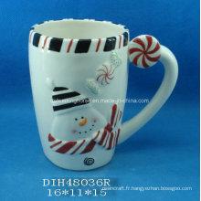 Tasse à café / thé de bonhommes de neige en céramique peinte à la main