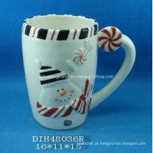 Caneca de café / chá de bonecos de neve de cerâmica pintada à mão