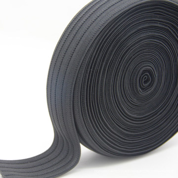 Black Stripe Polyester Jacquard Elastic Webbing / Ribbon / Strap for Garment Accessories