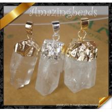 Pendentif de mode, pendentif en pierre de quartz en cristal Witih Silver Plating (YAD001)
