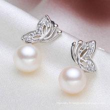 Perle d'eau douce cultivée Boucle d'oreille bouton Forme de la mouche