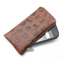 PU Leather Phone Case for iPhone 4, with Zipper and Lanyard, Customized Patterns/Logos are Welcome