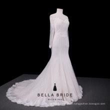 Vestido de noiva acessível vestido de noiva manga longa fora vestidos de renda de ombro para casamentos desgaste de noiva de marfim