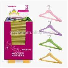 Set of 3pcs promotional wooden colourful hanger