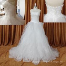 Lindo entrega rápida romântico organza plissado vestido de noiva