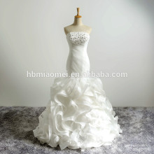 El último diseño sin tirantes con cuentas de encaje sirena Vestidos de boda del verano entrenan el vestido de boda del estilo de los pescados del vestido de boda