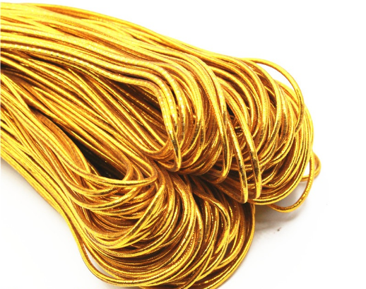 Gold Metallic Elastic Cord For Tag