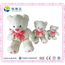 Urso branco simples da mamã da peluche com brinquedo bonito do urso pequeno