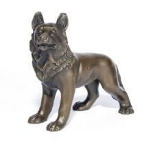 Mascota Home Deco Lobo Arte Artesanía Perro Bronce Estatua Escultura Ydw-109