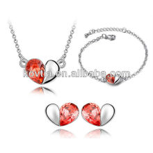Vente en gros de style nouveau coeur mode ensemble de mariée bijoux