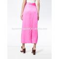 New Fashion 2019 Twist Pink Silk Satin Open Slit Midi Summer Skirt Manufacture Wholesale Fashion Women Apparel (TA0028S)