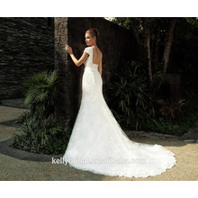 ZM16035 New Arrival Shoulder Off White Lace Wedding Dress Long Train Sexy Plus Size Diamond Bride Gown Open Back Design