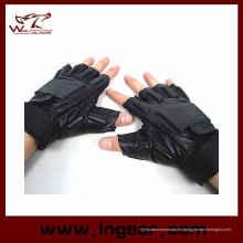 SWAT medio dedo Airsoft flexible cuero guantes de combate táctico negro