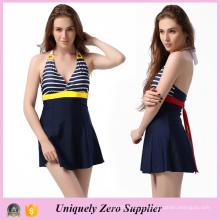 2016 Navy Stripe Stripe Prints One-Piece Backless Swimsuit com Cintos