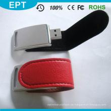 Neuestes schwarzes Leder USB Pendrive für Geschäft (EL015)