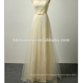 Bowknot est longue robe de mariée de haute qualité dentelle robe de soirée sans bretelles amour pour toujours robe de mariée