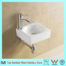 Модный дизайн Квадратная форма Белая керамическая раковина для мытья рук