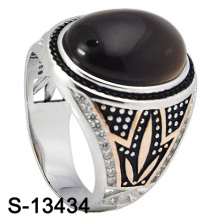 New Arrival Fashion Jewelry Natural Agate Silver Men Ring (S-13434)