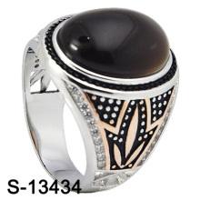 Nova chegada moda jóias naturais ágata homens de prata anel (s-13434)