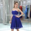 Sexy Frauen Sommer Off-Shoulder Saphirblau Chiffon Short Abendkleid für Cocktailparty