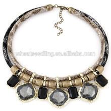 Collar de cuero de la capa doble de la piedra doble del metal de la joyería al por mayor