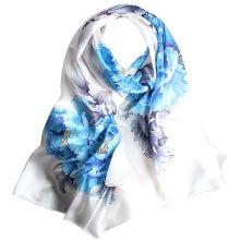 Forme a mujeres el estampado digital chino chal floral bufanda 100% de seda