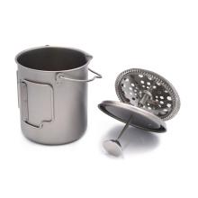 drinking mug cup foldable handle titanium french press