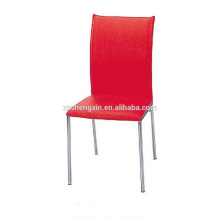 Red Dining Chair Metal Steel Tube for Restaurant