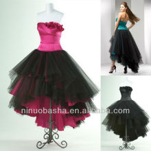 Satin And Black Net Ball Gown Tiered Low Front Long Back Strapless Prom Dress
